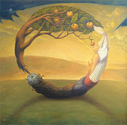 """The invisible String of Unity"" 1997 48x48 in. Painting by Chi Galatea Huynh"