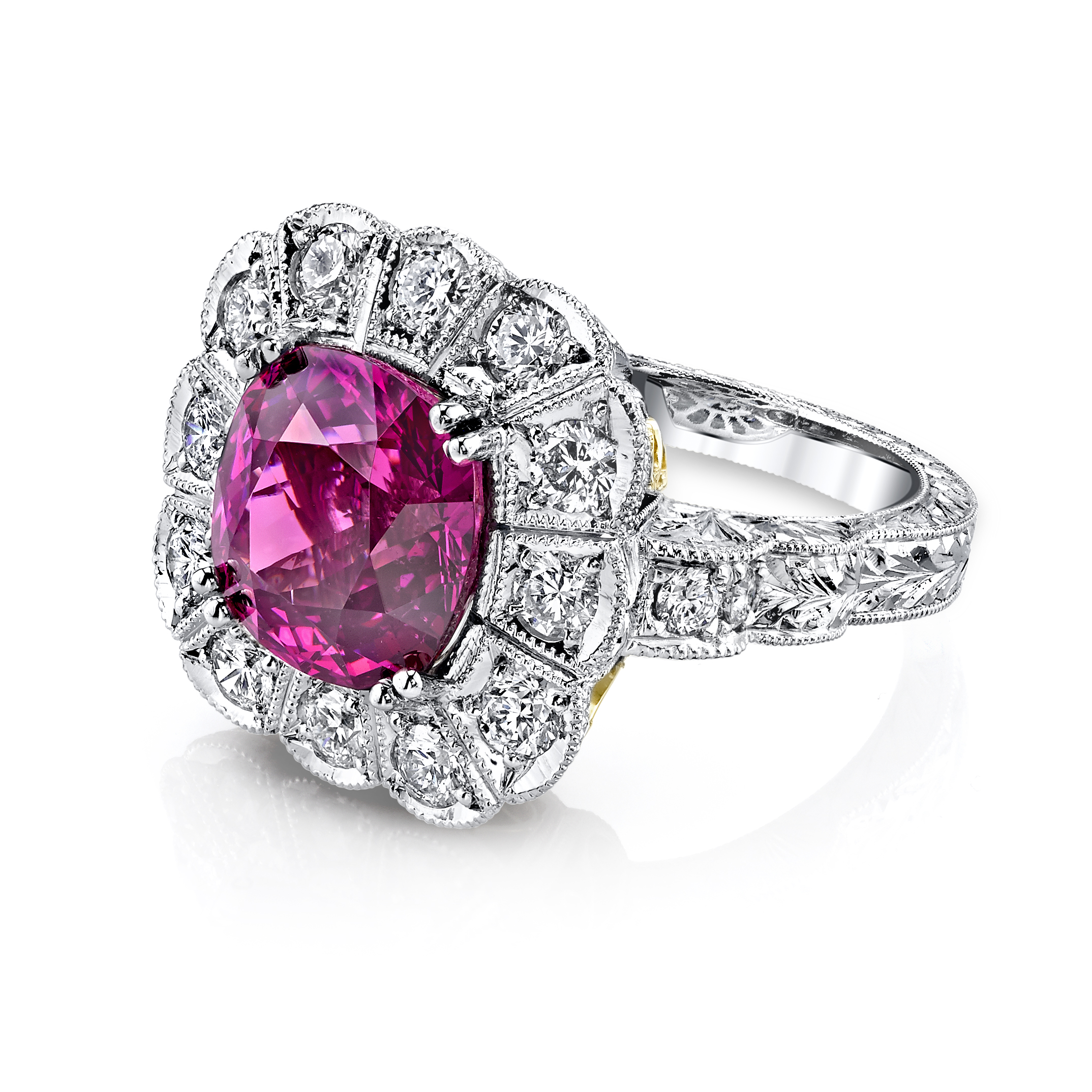 in diamond white with gold ring tw diamonds garnet rhodolite