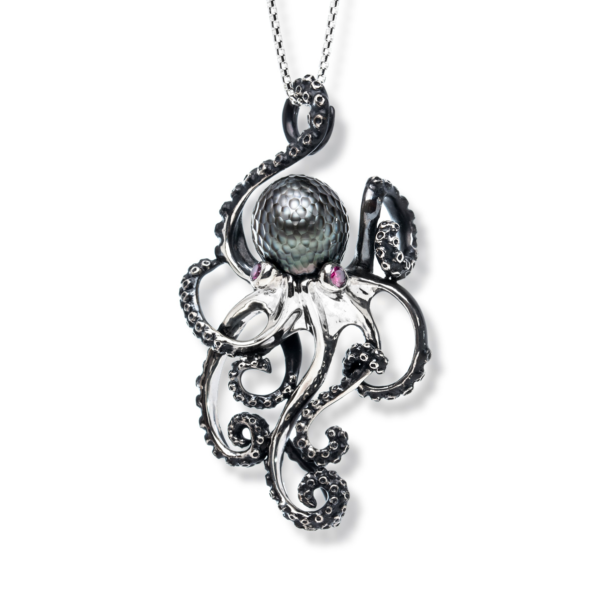 zirconia necklace pendant cz sterling aj cubic octopus silver